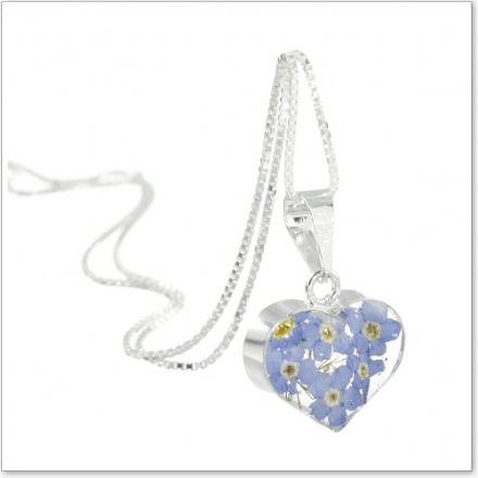 Remembrance Necklace, Forget Me Not Collection Heart (Optional Engraving)